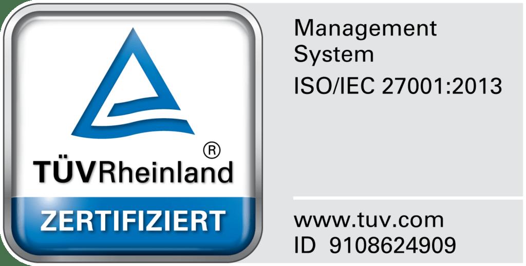 ISO 27001 Zertifiziert durch TÜV Rheinland